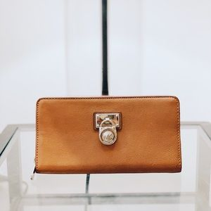 Michael Kors Tan Wallet Pebbled Leather